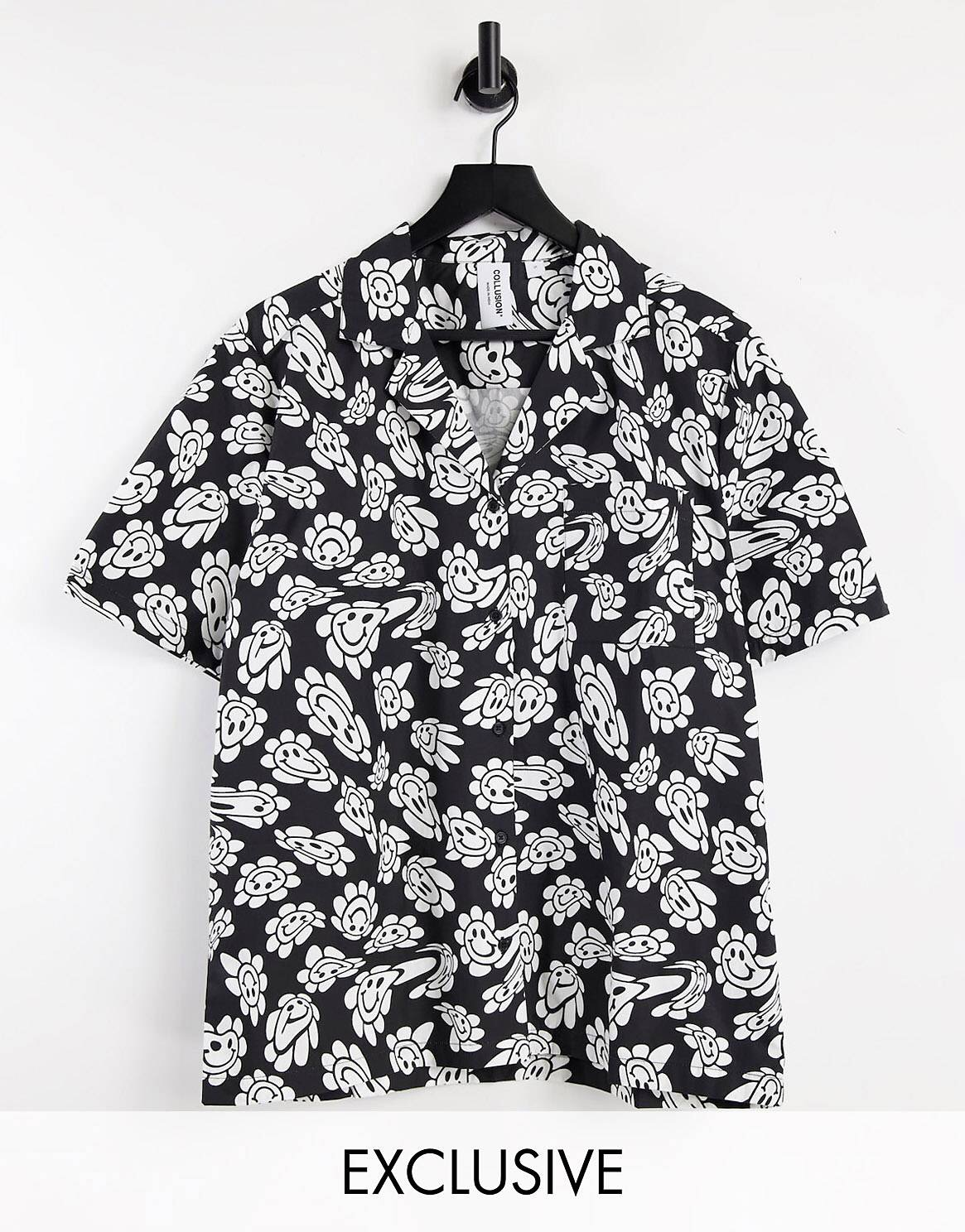 COLLUSION Unisex revere shirt with warped print co ord